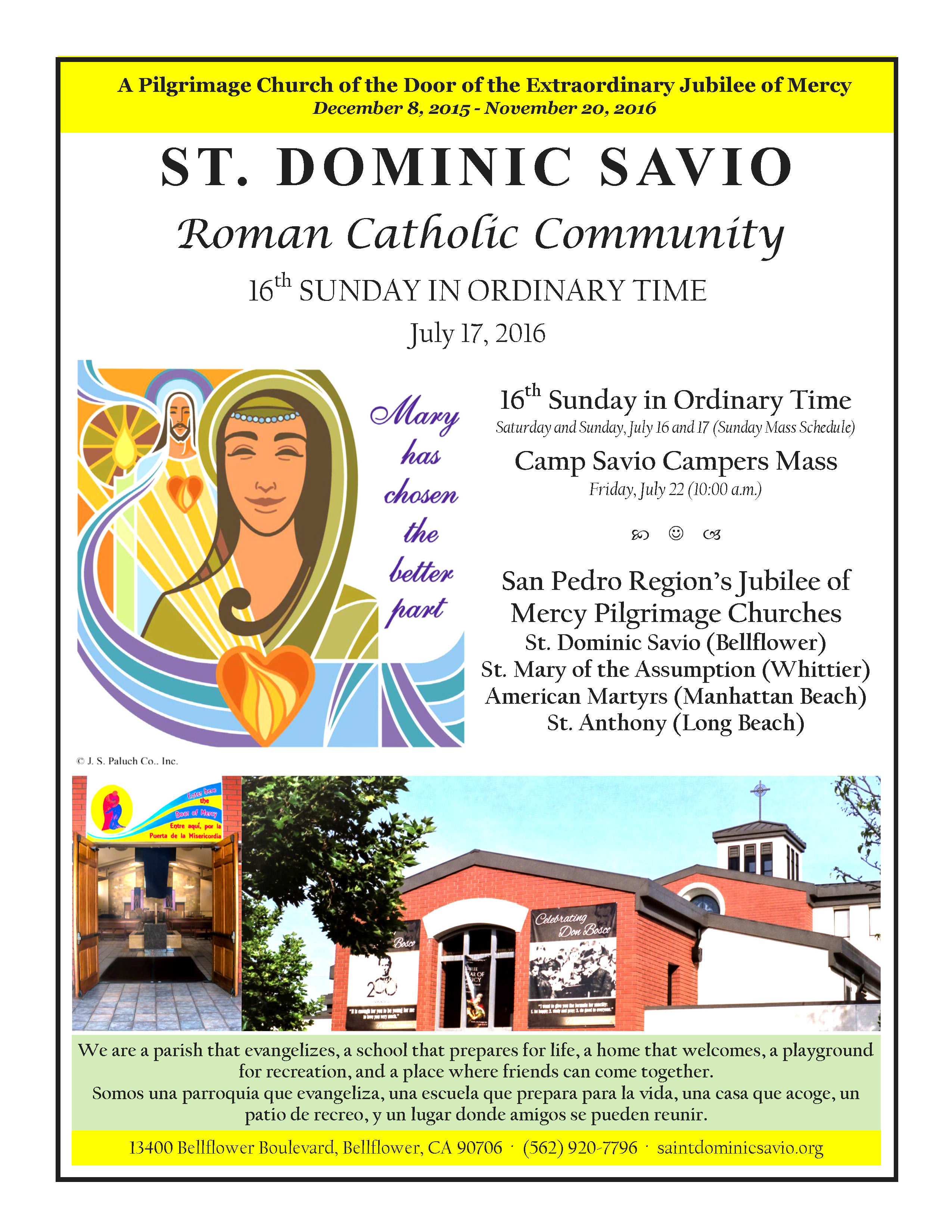 July 17 2016 Savio Parish Bulletin_Page_1