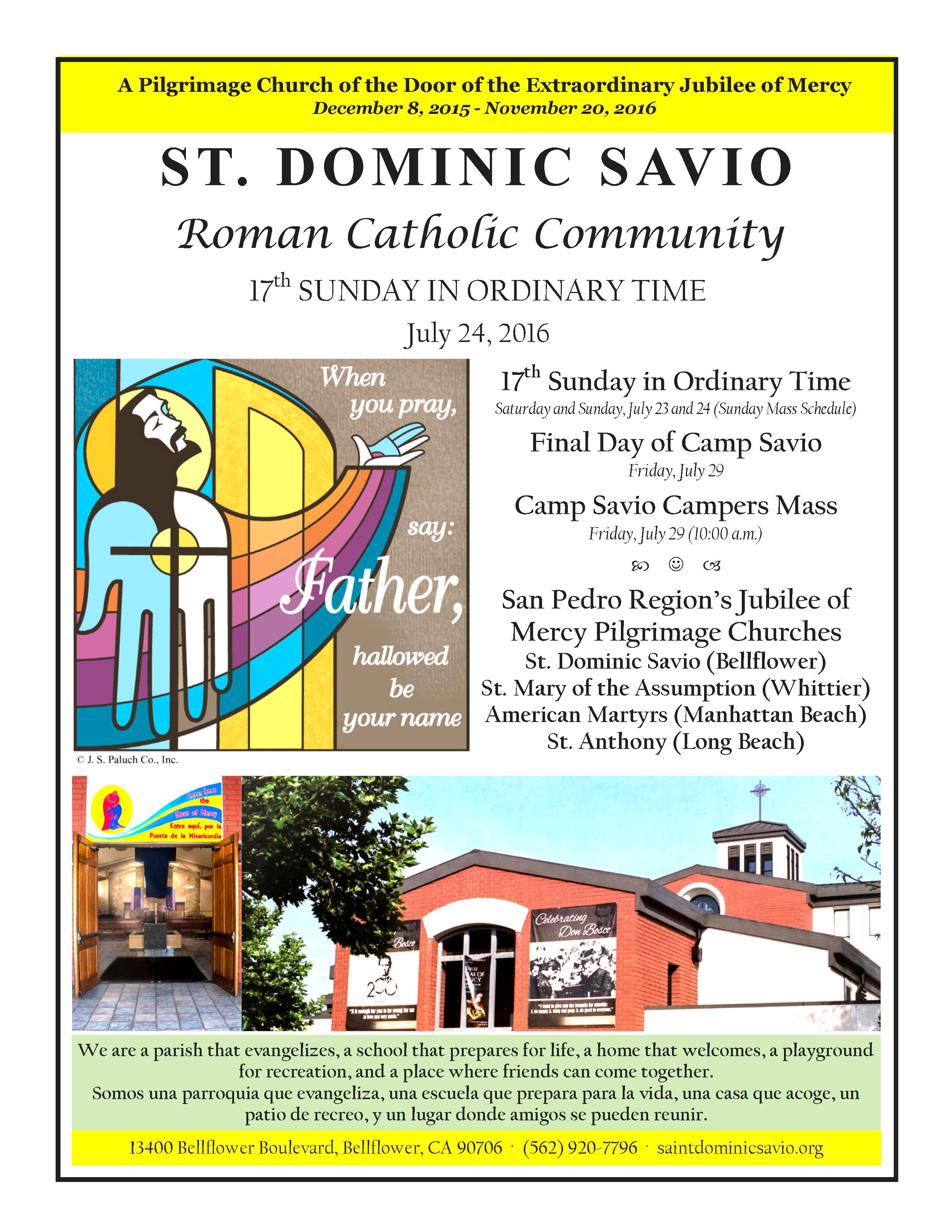 July 24 2016 Savio Parish Bulletin_Page_1