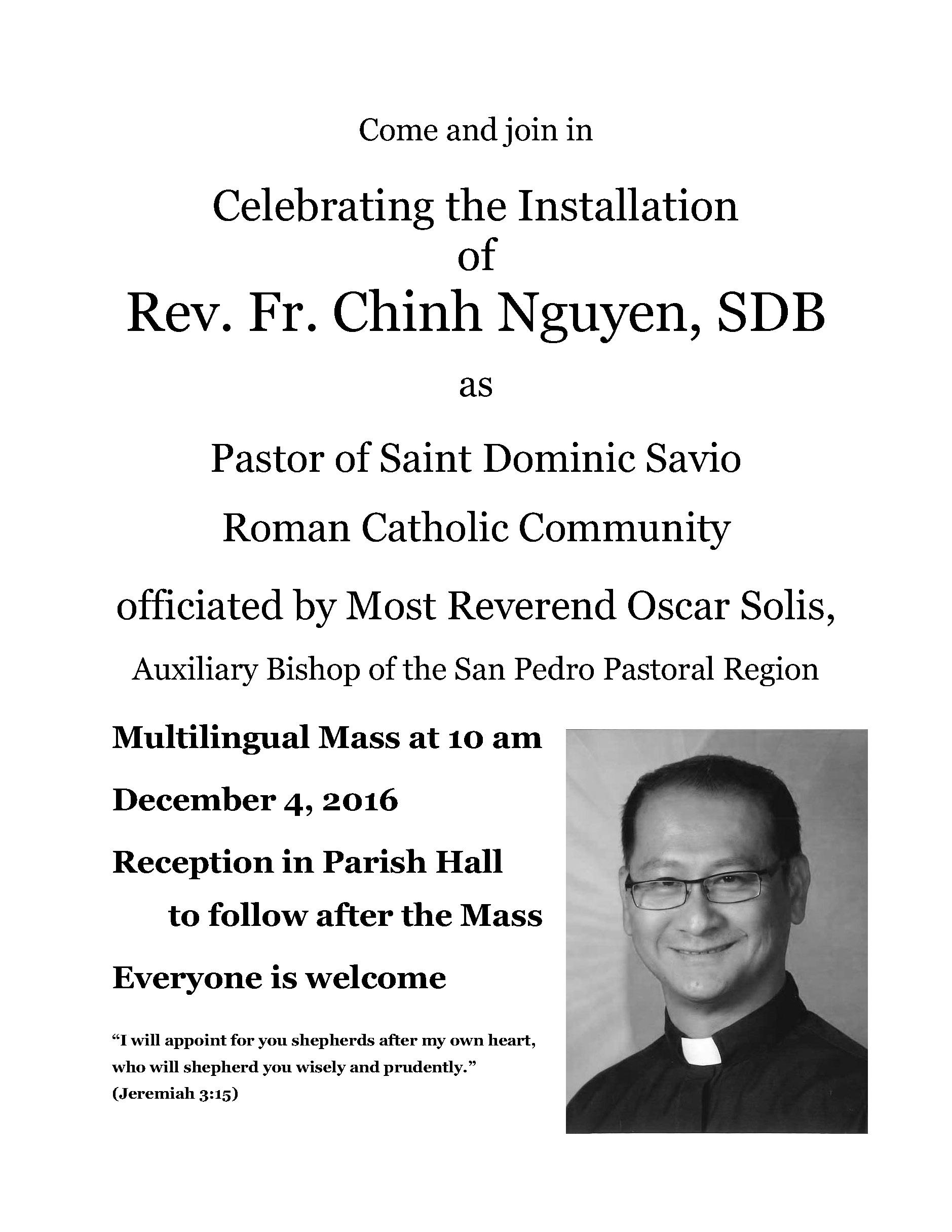 Fr Chinh's Pastoral Installation